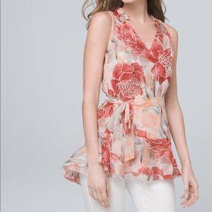 White House Black Market tunic top floral ruffle